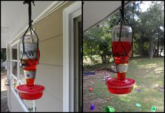Made a hummingbird feeder with a Modelo beer bottle and a KFC take out container  =)
