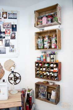 Crate Shelves from Natalme - Fabulous creative storage solutions for your studio! via hearthandmadeuk Crate Shelves from Natalme - Fabulous creative storage solutions for your studio! via hearthandmadeuk Craft Room Storage, Art Storage, Creative Storage, Craft Organization, Storage Shelves, Craft Rooms, Storage Crates, Wall Shelves, Garage Storage