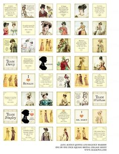 Jane Austen Quotes Regency England fashion 1 inch by magicpug, $3.50
