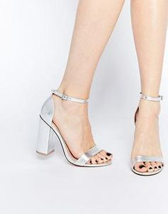 Juno Glitter Back Barely There Block Heels in Silver in 2019 ... f28f0706a6c4