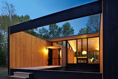 Week'nder prefab home in Madeline Island, Wisconsin designed by Charlie Lazor. Photo by: George Heinrich | Read more: http://www.dwell.com/articles/Superior-Logic.html