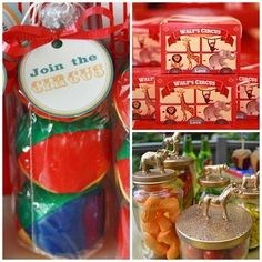 Circus Party Favor Ideas - animals on top of jars and crackers! :)