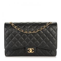 CHANEL Caviar Quilted Maxi Double Flap Black ❤ liked on Polyvore featuring bags, handbags, shoulder bags, chain shoulder bag, chanel purse, quilted shoulder bag, leather purses and quilted handbags