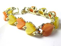 Lucite Heart Bracelet Yellow and Peach Cabochon by OurBoudoir