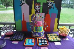 Zoey loves Power Puff girls and her birthday is around the corner! I love love love this backdrop so cute and looks sorta simple!
