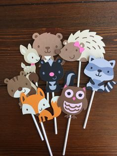 Woodland themed Cupcake toppers woodland by TheresasPaperCrafts
