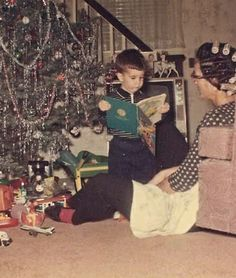 ~+~ Vintage Color Christmas  Photograph ~+~ Young boy and mom in curlers on Christmas morning.