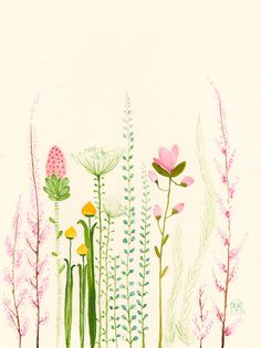 Garden original watercolor-SALE by zuhalkanar on Etsy