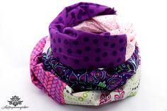 Bunter Designer Loop Schal der #Lieblingsmanufaktur: hier lila - rosa - weiß