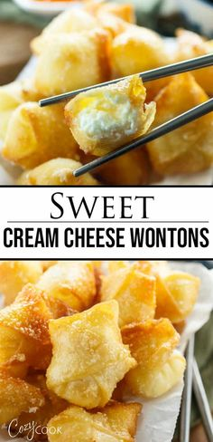 This Sweet Cream Cheese Wonton Recipe is SO easy to make as it has just TWO filling ingredients! The wontons can be baked or fried and taste great with sweet and sour sauce for dipping! appetizers cream cheese Cream Cheese Wontons - The Cozy Cook Wonton Appetizers, Wonton Recipes, Appetizer Recipes, Chinese Appetizers, Italian Appetizers, Appetizer Ideas, Wan Tan, Cream Cheese Wontons, Cream Cheese Filling