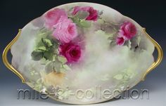 BEAUTIFUL LIMOGES FRANCE HAND PAINTED ROSES TRAY