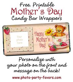 DIY Mother's Day Craft Gift Idea - Personalize these free, printable candy bar… Diy Mother's Day Crafts, Mother's Day Diy, Mothers Day Crafts, Mother Day Gifts, Happy Mothers Day, Mom Gifts, Holiday Crafts, Candy Labels, Candy Bar Wrappers
