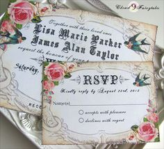 Handmade Wedding Invitations Vintage Garden by Cloud9Fairytales
