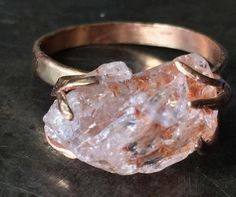 Morganite is pink beryl -- you are probably more used to green beryl (emerald) or blue green (aquamarine) but this is the pink version. It can be crystal clear and delicately pink, but this craggy raw Natural Crystals, Natural Gemstones, Pretty Rings, Beautiful Rings, Morganite Ring, Diamond Are A Girls Best Friend, Gemstone Jewelry, Glass Jewelry, Gold Jewellery