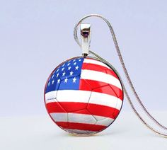 USA World Cup Soccer Necklace -  Show you are a true USA Women's World Cup soccer fan by wearing this cool American flag soccer ball necklace.  Great gift for a soccer player.