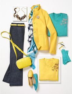 yellow and aqua- fall fashion Beaded Corsage Sweater | Talbots