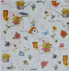 Adalees Garden~Gardening by Red Rooster Cotton Fabric By The Yard