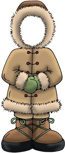 Eskimo, gezicht van het kind achter plakken