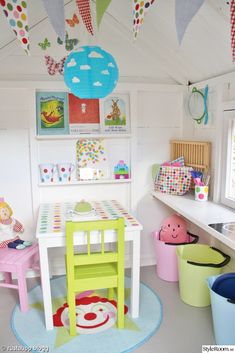 white paint, flag banners and decor for play house legehus Playhouse Decor, Playhouse Interior, Outside Playhouse, Garden Playhouse, Girls Playhouse, Build A Playhouse, Playhouse Ideas, Garden Sheds, Kids Cubby Houses