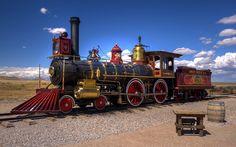 locomotiva a vapor, vintage, trem, nuvens                                                                                                                                                                                 Mais