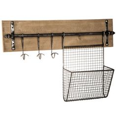 Wall Organizer with Basket & Hooks