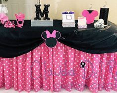 Minnie Mouse polka dot table skirts DIY kit by LizsPartyDesigns Minnie Mouse Table, Minnie Mouse Theme Party, Minnie Mouse Birthday Decorations, Minnie Mouse Baby Shower, Minnie Mouse Pink, Mickey Mouse Birthday, Birthday Table, 2nd Birthday, Birthday Ideas