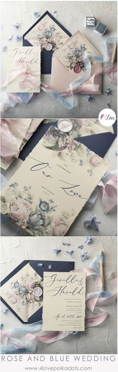 Beautiful wedding invitations in Rose quartz and Serenity blue color scheme. Modern calligraphy combined with romantic floral printing is just a perfect detail for your Special Day. All fully assembled and completely customizable from $6,30  #wedding #weddinginvitation
