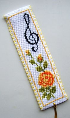 Vervaco Yellow Rose & Treble Clef bookmark.