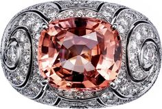 Ring - platinum, one carat cushion-cut padparadscha sapphire from Ceylon, brilliant-cut diamonds. High Jewelry, Cute Jewelry, Bling Jewelry, Metal Jewelry, Jewlery, Diamond Gemstone, Diamond Jewelry, Gemstone Rings, Cartier Rings