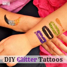 Glitter Tattoos DIY Tutorial - Made with Martha Stewart glitter and adhesive stencils! #party #halloween #glitter @Alissa Evans Huybers Crafts