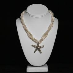 Triple strand pearl necklace with Thai silver starfish