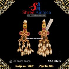 Find the most lovely earrings in 92.5 silver, real pearls and stones to match with your every mood and look. Truly jewellery to die for from Shree Ambica - Your Trusted Silver Jewellers. Pick this for the upcoming festive/wedding season. Readily available in stock For Price and Details Message on - +919866110500 #ShreeAmbica #tustedJewellers #SilverJewellery #indianbride #indianwedding