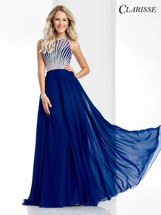 Clarisse 2017 prom dress style 3068. Long flowy a-line prom dress with a sparkly bodice. In Royal Blue, Burgundy, Pastel mint green or blush pink | Promgirl.net