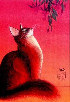 Leslie Newcomer a #cat_lover and a #painter who has combined her penchant for cats and strong interest in myth and ancient cultures into a unique style of painting.