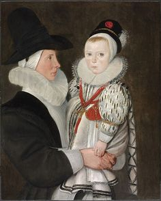5. The Seventeenth Century: Extreme neck ruffles on man and child. Child wearing a pudding under hat. Child has Virago sleeves and ribbon of childhood popular in the seventeenth century