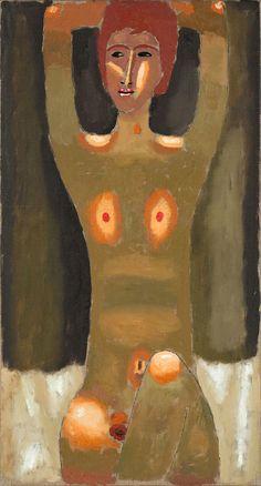 JERZY NOWOSIELSKI (1923 - 2011)  AKT, 1992   olej, płótno / 86 x 46 cm  sygn. na odwrocie: JERZY NOWOSIELSKI 1992