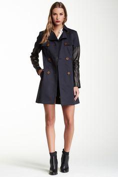 Mackage   Inessa Leather Sleeve Trench Coat   Nordstrom Rack