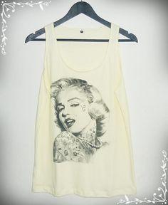 Marilyn Monroe tank top tattoo Men Women tank top size by 699shirt, $14.00
