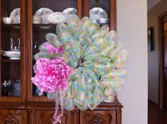 Spring wreath I made out of deco mesh.