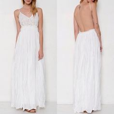 """""""Moonset"""" Backless Lace Maxi Dress Lace front backless maxi dress. Look your most stunning with this beauty. Available in black and ivory. This listing is for the IVORY. Brand new. PRICE FIRM. NO TRADES. Bare Anthology Dresses Maxi"""