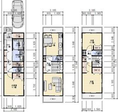 Town House Floor Plan, Narrow House Plans, Small Room Layouts, Micro House, Small House Design, Japanese House, Home Interior Design, Townhouse, Planes