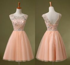Cap Sleeve Beaded Blush Short Cocktail Homecoming Dresses