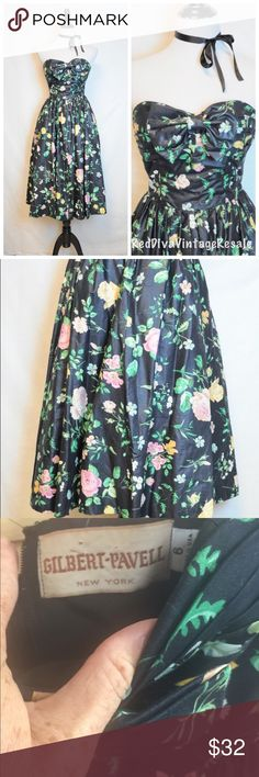 """Vintage Floral Fit & Flare 80's Dress Absolutely lovely!! By Gilbert-Pavell Made well of cotton sheen  Very good condition. No stains or tears  Fits size 0 Bust 32"""" Waist 36"""" Length 50"""" Vintage Dresses Strapless"""