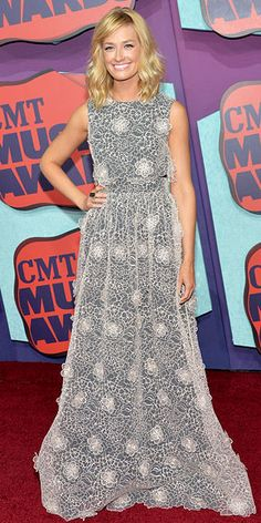 Country's Hottest Shine at the CMT Music Awards | BETH BEHRS | Does the 2 Broke Girls star still have wedding dresses on the brain? We could totally see Beth walking down the aisle in this lacy Erin Fetherston crop top and skirt with black underlay.
