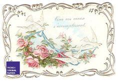 New on my Etsy shop ! Beautiful antique greeting card. Victorian rose, dove, flowers  Retrouvez cet article dans ma boutique Etsy https://www.etsy.com/fr/listing/276768234/jolie-carte-de-voux-francaise-annees-20