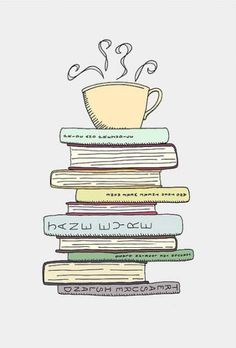I Love Books and Coffee Print - Kitchen Art Illustration - Books and Reading Book Art - Tea Cafe Art Drawing For Book Lover - FlourishCafe in Massachusetts, United States I Love Books, Good Books, Books To Read, Reading Books, Reading Art, Coffee Drawing, Book Drawing, Tee Illustration, Tea Cafe