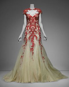 Monique Lhuillier Embroidered Tulle Ballgown - Neiman Marcus  -Diggin' the coral pattern*