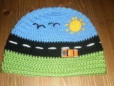 Crochet Pattern Name: Broom Broom Boy's Beanie Free Pattern by: Jacqui Delaney Crochet Car, Bonnet Crochet, Crochet Crafts, Crochet Projects, Free Crochet, Crochet Hats For Boys, Crochet Baby Hats, Crochet Beanie, Crochet Hooks