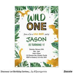 Wild One Birthday Invitations, Dinosaur Birthday Invitations, Birthday Invitation Templates, Digital Invitations, Invites, Dinosaur First Birthday, 1st Boy Birthday, Wild Ones, House Party
