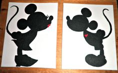 Disney Mickey and Minnie Silhouette Painting by sugarandspice101, $30.00